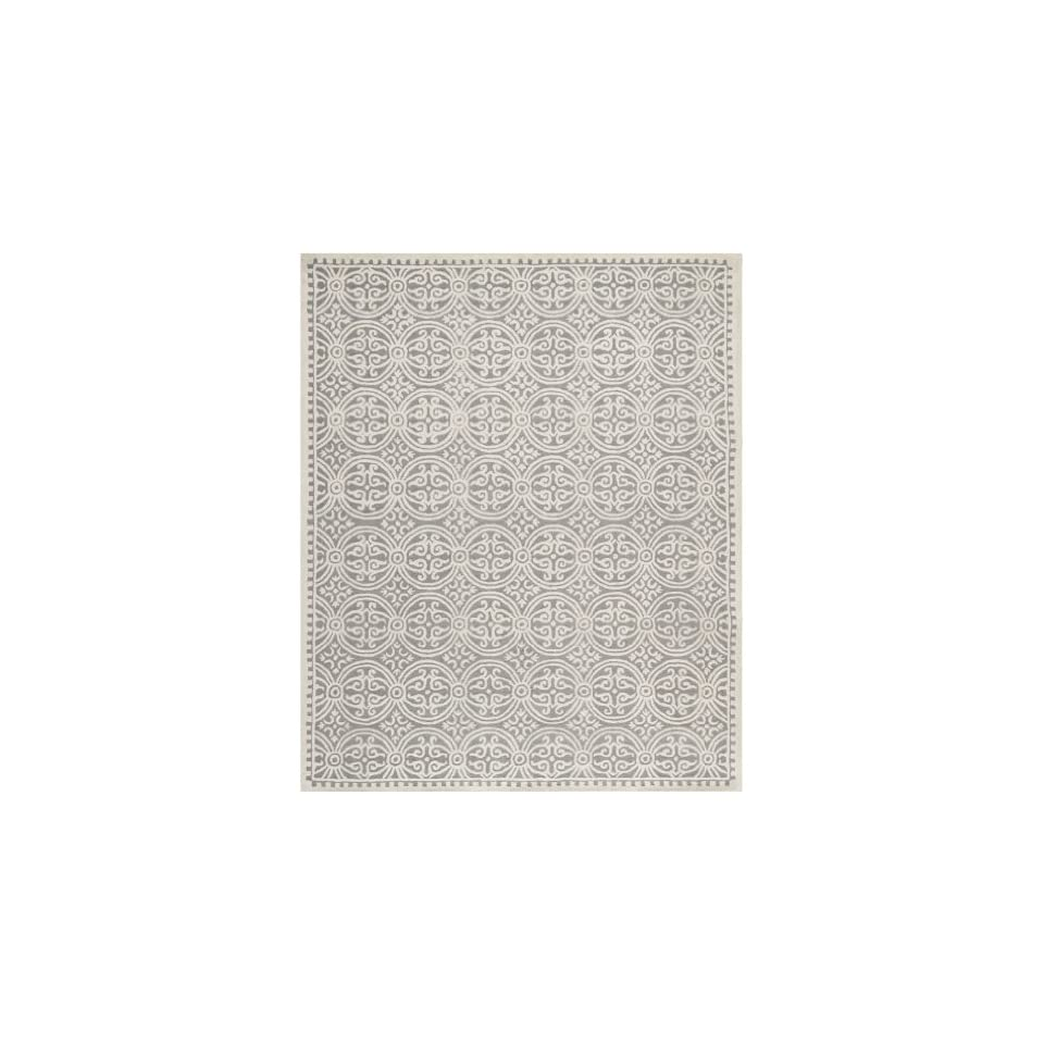 Safavieh Cambridge Collection CAM123D Handmade Moroccan Geometric Silver and Ivory Premium Wool Area Rug (6 x 9)