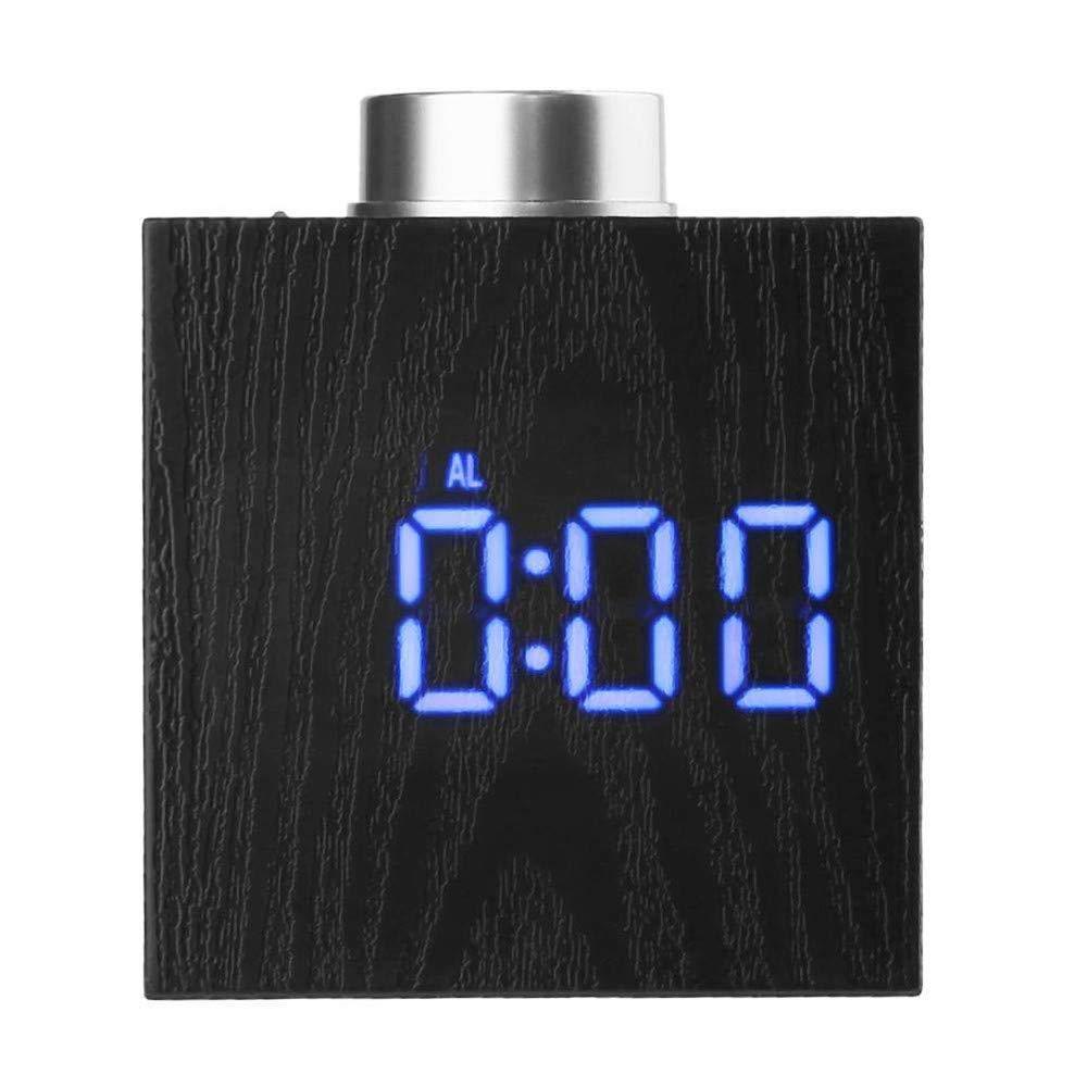 LED Alarm Clock Wood Grain, YiMiky Temperature LED Display Wood Grain Clock Adjustable Brightness Digital Alarm Clock Snooze Battery Backup Simple Operation Wood Digital Clock - Blue