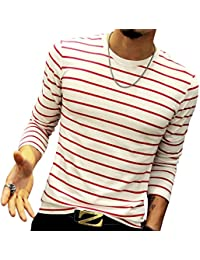 """<span class=""""a-offscreen"""">[Sponsored]</span>Mens Long-Sleeve Cotton Fitted Contrast Color Stitching Stripe Slim T-Shirt"""