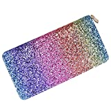 (US) Combre Bling Glitter Wallet Womens Handbag Long Purse Party Clutch Ladies Card Holder (RAINBOW)