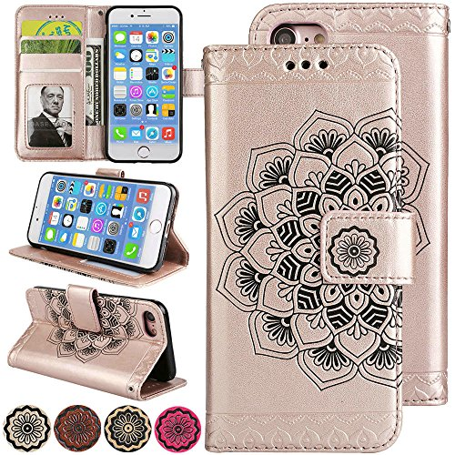 (iPhone 7 Leather Case, iPhone 8 Wallet Case for Women [Card Holder Slot][Flip Magnetic][Cash Wallet][Kickstand for Video][Wrist Strap] 3D Relief Flower Case for iPhone8 (4.7inch, Rosegold))