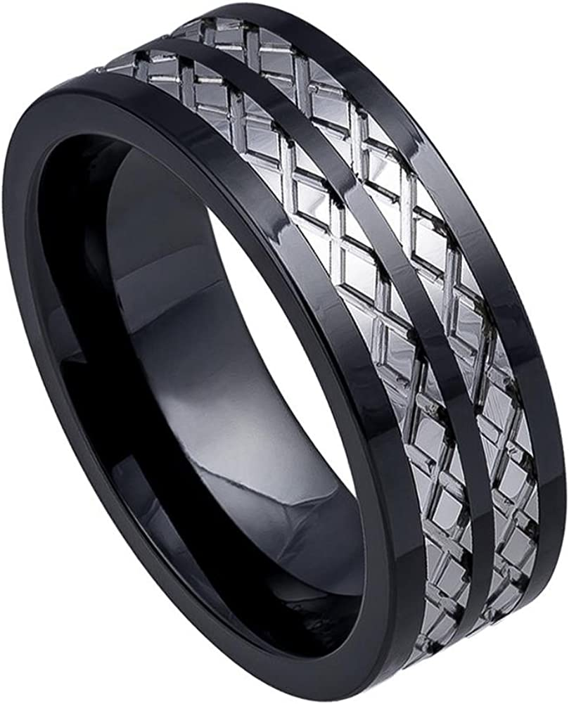 8mm Ceramic Base with Tungsten Carbide Inlay Wedding Band Ring for Men or Ladies