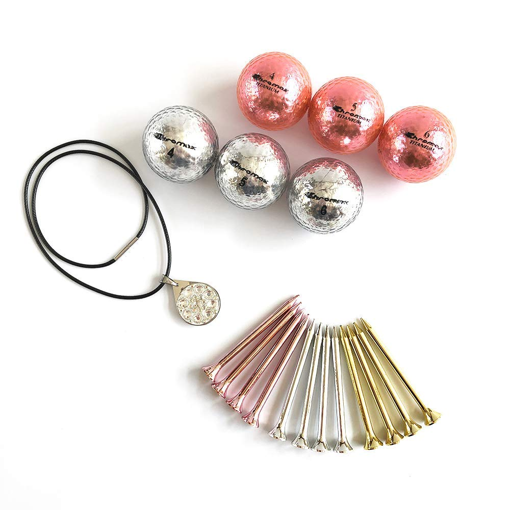 onemodshop | Fun Golf Gift Set for Ladies | Bundle of 6 Chromax Metallic Golf Balls, 12 Metallic Golf Tees and 1 Bling Ball Marker Necklace - Perfect Golf Gift for Women, Mother's Day or Birthday by onemodshop (Image #1)