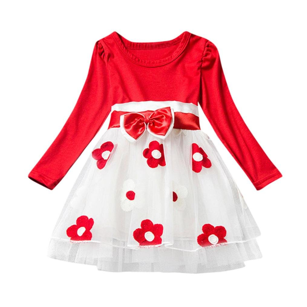 Gotd Toddler Infant Baby Girl Flower Bowknot Fold Tulle Tutu Party Wedding Princess Dress Clothes Winter Long Sleeve Christmas Autumn Outfits Gifts (0-6 Months, Pink) Goodtrade8