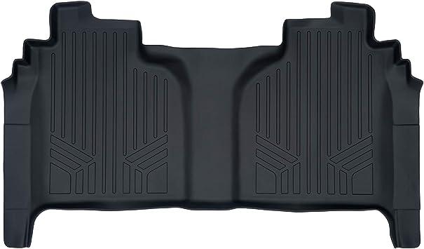 SMARTLINER Floor Mats 2 Row Liner Set Black for 2019 Silverado//Sierra 1500 Crew Cab with 1st Row Bench Seat