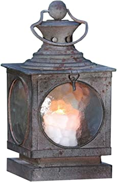 Metal Square Hanging Candle Lantern Curved Glass Insert Kitchen Dining
