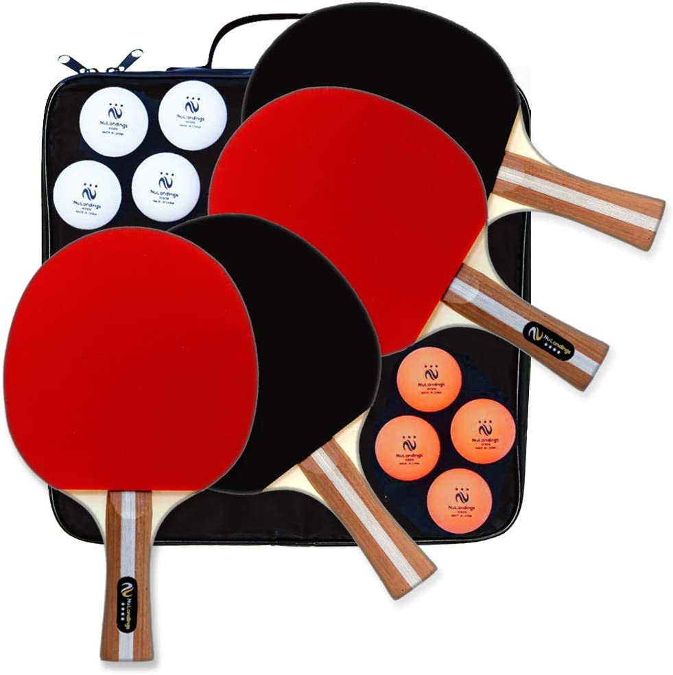 NuLandings Ping Pong Paddle Set - 4 Professional Table Tennis Rackets/Paddles - 8 Premium 3-Star ITTF Standard Balls Portable Cover Case Holder - ...