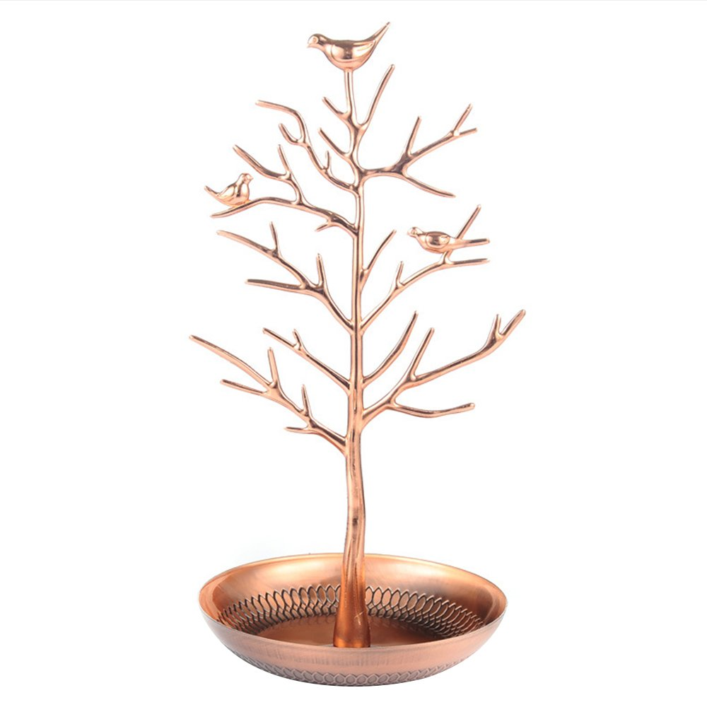 Happy Hours - Little Birds Tree Iron Craft Accessories Holder / Vintage Antique Silver Bronze Earring Necklace Bracelets Jewelry Hanging Organizer Rack Tower(Rose Gold)