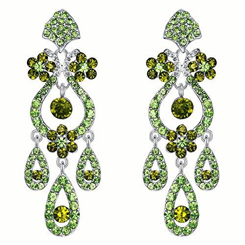 EVER FAITH Bridal Silver-Tone Flower Vase Chandelier Pierced Dangle Earrings Austrian Crystal Green