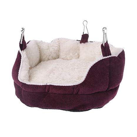 Jiay Nido de Mascota Hamaca para Hamster Sofá Cama Colgante de Terciopelo para Ardilla de cobaya (Rojo)