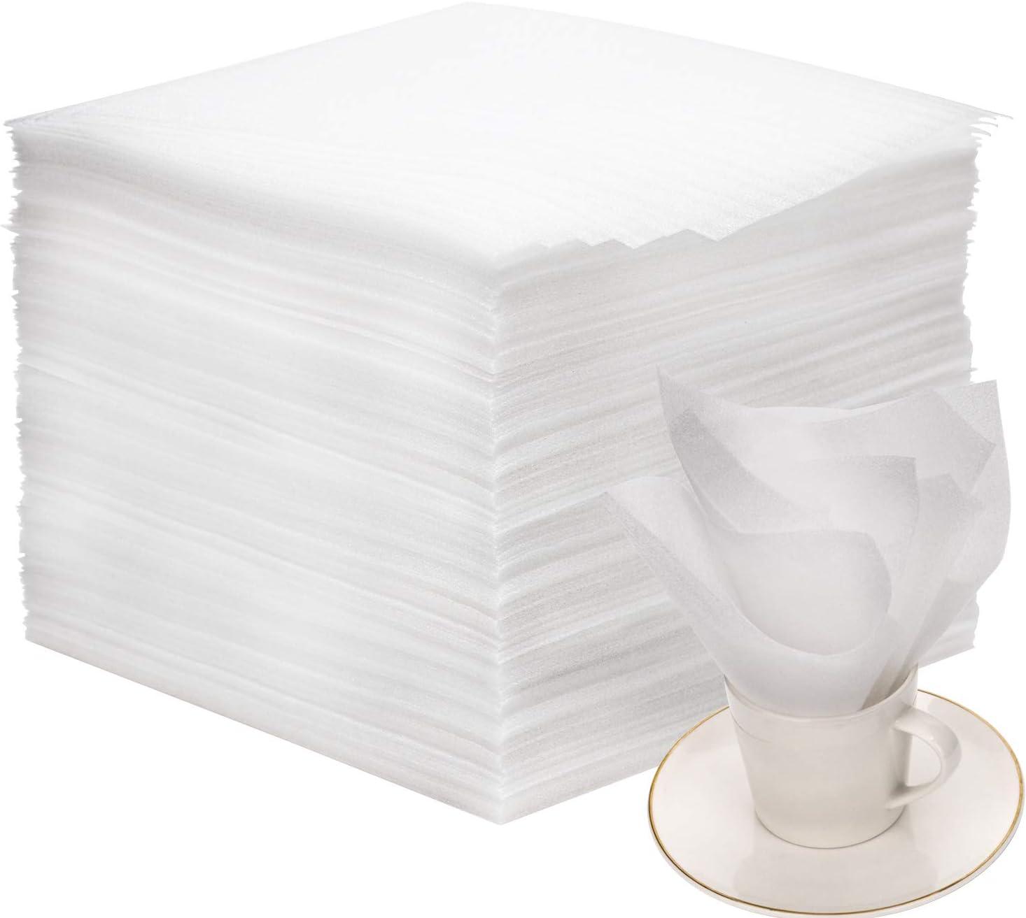 AIEX 80 Piezas Espuma de Embalaje Espuma Hojas Foam Sheet Envoltura de Espuma para Platos, platos, vasos, tazas(12x12x0.05 Pulgada)