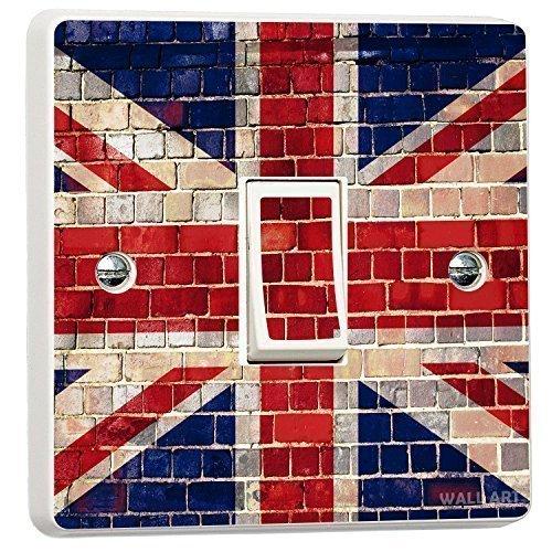 Union Jack Brick Wall Single Light Switch Cover Vinyl Sticker Wall Art Desire