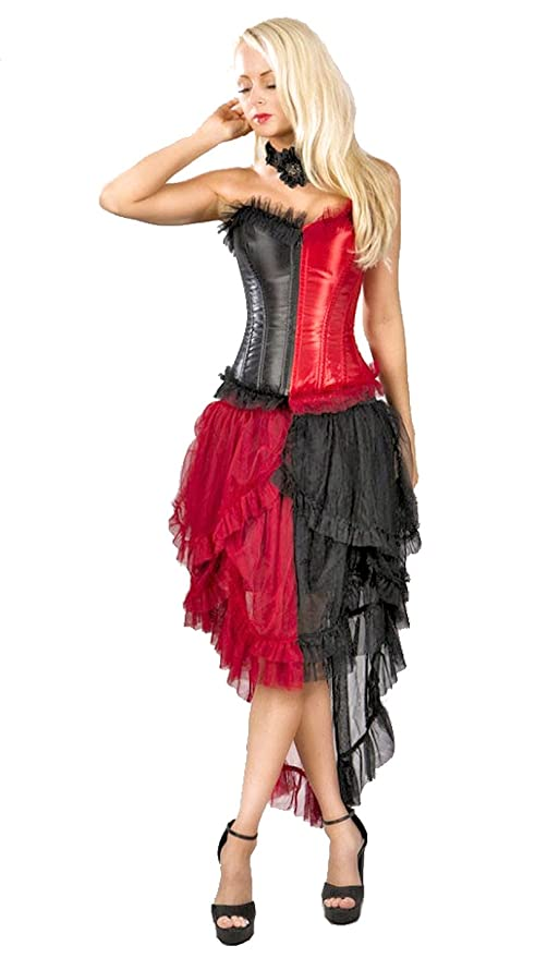 Steampunk Dresses and Costumes  Steampunk Harlequin Corset and Skirt Set $39.99 AT vintagedancer.com