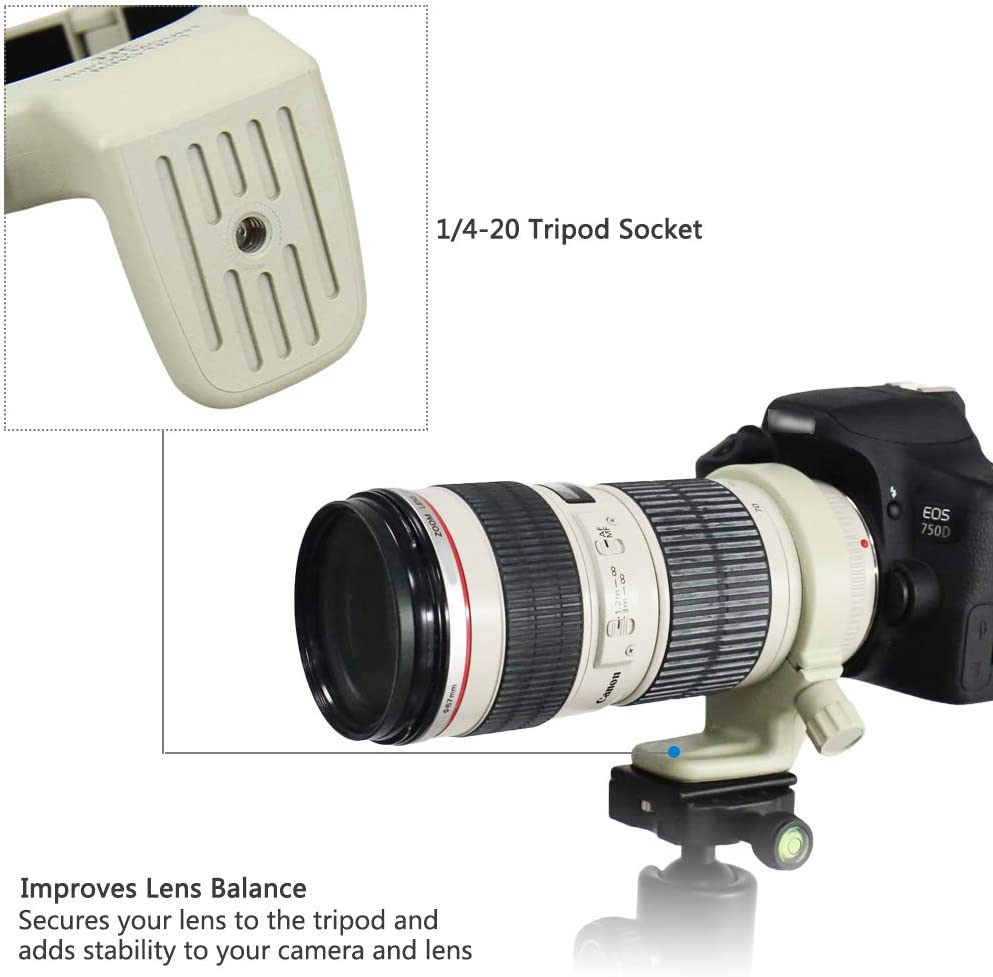 White Tripod Mount Ring Collar for Canon EF 70-200mm f//4L is II USM or EF 70-200mm f//4L /& EF 70-200mm f//4L is Replaces Canon A-2 Durable ABS