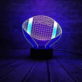 Deportes pelota de fútbol americano lámpara 3D color mezclado ...