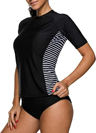 beautyin Women's Rash Guard Short Sleeve Rashguard Sun Protection Shirt UPF 50+