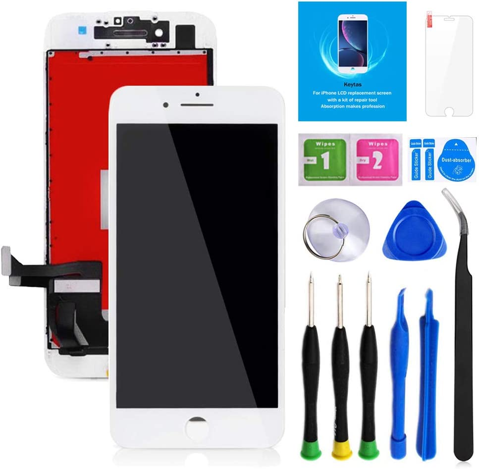 "Keytas for iPhone 8 Plus Screen Replacement Kit White 5.5"" LCD Display iPhone 8 Plus 5.5 Inch 3D Touch Screen Digitizer Frame Assembly with Free Repair Tools Kit+ Screen Protector (White)"