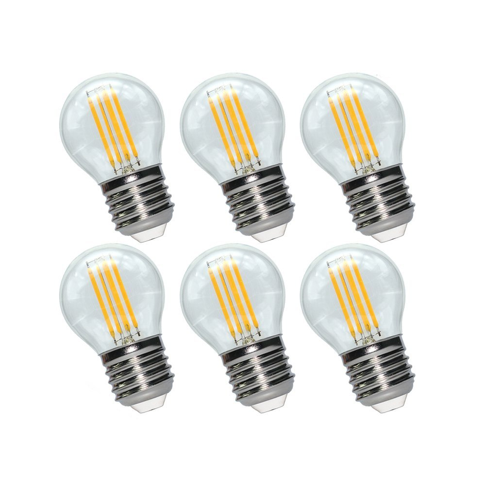 LED Edison Bulb Dimmable G14, E26 Base 3.5W 2700K 370 Lumens LED Globe Bulb, UNCLELIGHT, 40W Equivalent LED Filament Bulb, UL Listed (6 Pack)