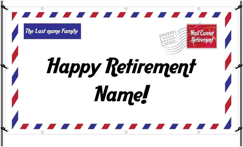 VictoryStore Retirement Decorations: Custom Postal Retirement Banner - Waterproof Vinyl Banner (Post Letter Retirement, 3 feet by 5 feet)