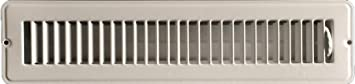 RV and Home White Stamped Steel Floor Diffuser/Register with damper 14