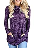 VIEWIM Women's Cowl Neck Long Sleeve Casual Tunic Sweatshirts Pullover Tops with Pockets