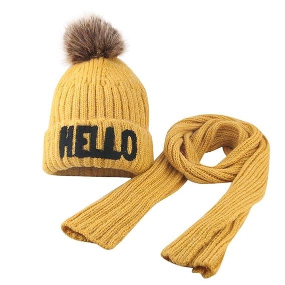 Odjoy Fan Baby Mädchen Junge Gestrickt Haarballen Mütze Schal
