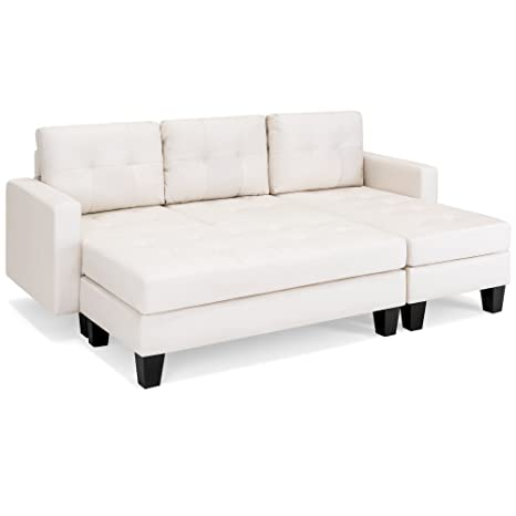 Astonishing Best Choice Products Tufted Faux Leather 3 Seat L Shape Sectional Sofa Couch Set W Chaise Lounge Ottoman Coffee Table Bench White Ibusinesslaw Wood Chair Design Ideas Ibusinesslaworg