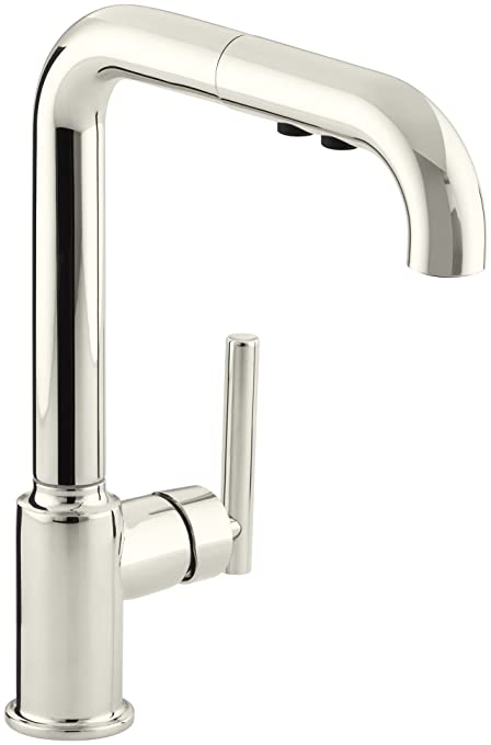 KOHLER K-7505-SN Purist Primary Pullout Kitchen Faucet, Vibrant Polished  Nickel