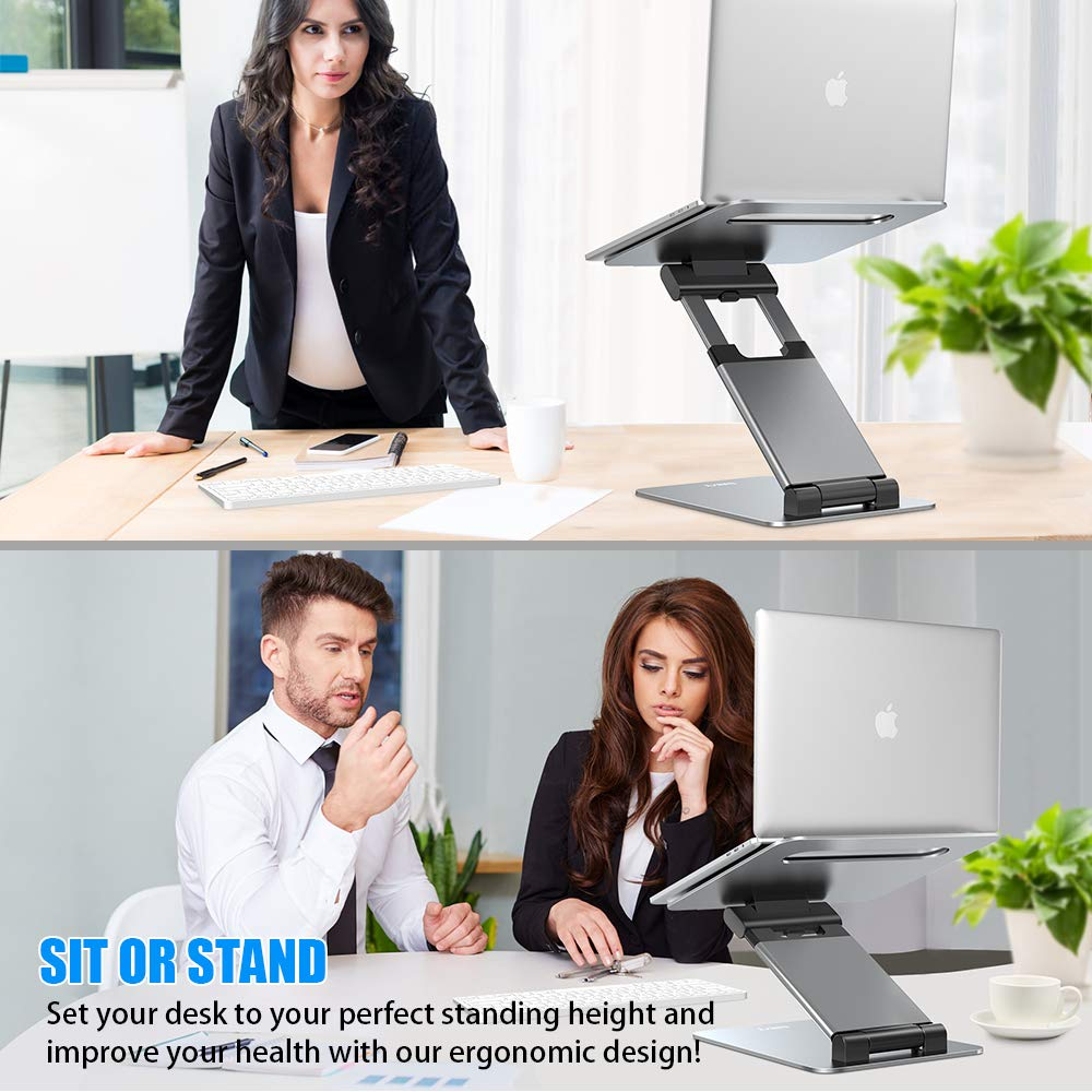 Compatible with MacBook Supports up to 22lbs Space Grey All Laptops Tablets 10-17 Nulaxy Laptop Stand Ergonomic Sit to Stand Laptop Holder Convertor Adjustable Height from 2.1 to 21