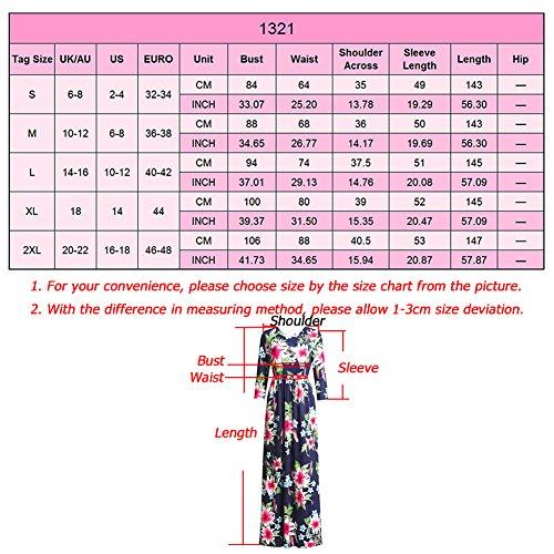 Femmes Robe Floral Maxi 3 Bleu 4 Vintage Imprimé Boho Étage Manches Longueur À 1EqWfd
