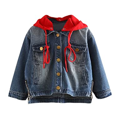 fe4203bdd14 Amazon   LittleSpring春秋 キッズ 女の子 重ね着 ジャケット デニム 赤 ...