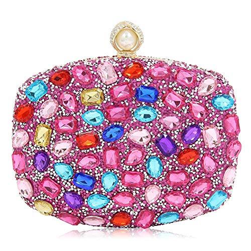 Multi Handbag Color Pink (Women Evening Bag Diamond Clutches Crystal Clutch Purse Handbags For Wedding (Multicolour Pink))