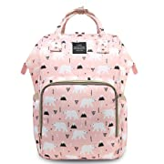 HaloVa Diaper Bag Multi-Function Waterproof Travel Backpack Nappy Bags for Baby Care, Large Capacity, Lovely Cartoon Pattern, Pink Bear