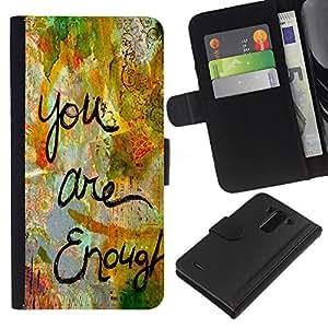 All Phone Most Case / Oferta Especial Cáscara Funda de cuero Monedero Cubierta de proteccion Caso / Wallet Case for LG G3 // Are Enough Love Quote Paint Funny