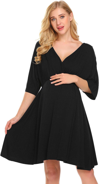 Ekouaer Women's Maternity Dress Nursing Nightgown for Breastfeeding Nightshirt Sleepwear at  Women's Clothing store