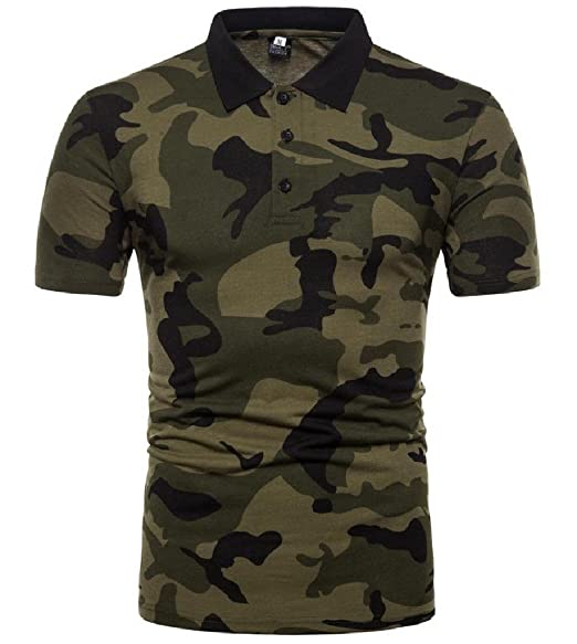 c48ea43a Comaba Men's Oversized Short-Sleeve Floral Spring Camouflage Polo T-Shirts  at Amazon Men's Clothing store: