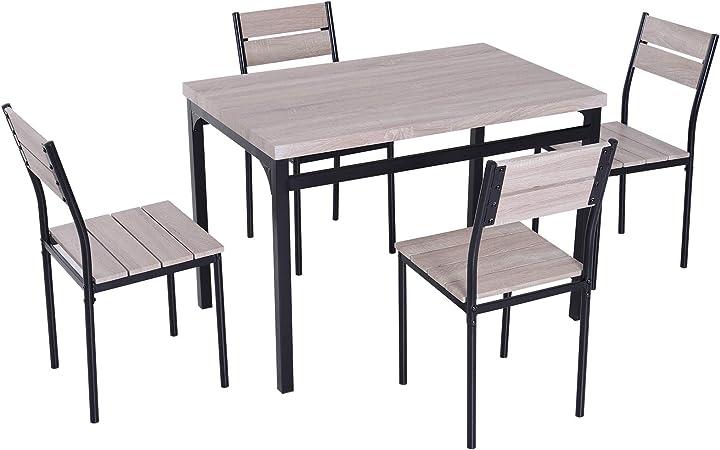 industriel coloris de manger acier salle chaises noir MDF avec de 4 à bois chêne style Table W92IEDH