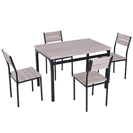 Metall Grau 4 St/ühlen HOMCOM 5-teilige Essgruppe Sitzgruppe Esstisch Set Holzmaserung MDF Wei/ß mit 1 Tisch