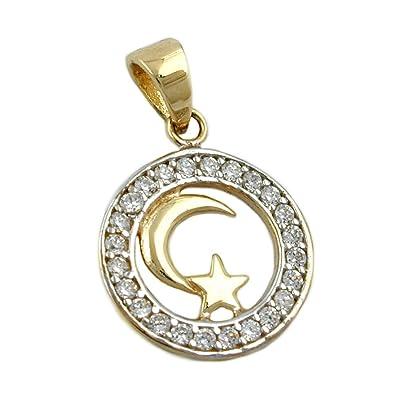 Sarengo 9ct Gold Moon And Star Islamic Symbol Pendant Sarengo