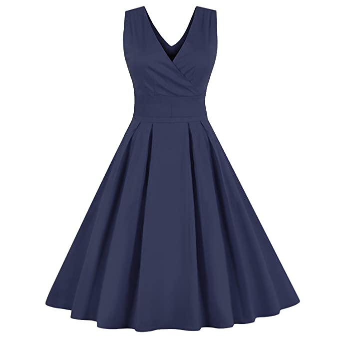 Women Sleeveless Vintage Summer Dress 50s 60s Swing Retro Bowknots Vestidos,Navy Dress,M