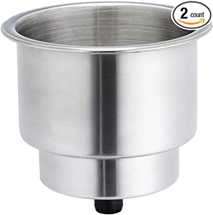 4pcs Stainless Steel Cup Drink Holder with Drain for Marine Boat RV Camper