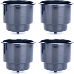DasMarine (Set of 4 Black Recessed Plastic Cup Drink Can Holder with Drain for Boat Truck Car and More (Black, 4 Pack)