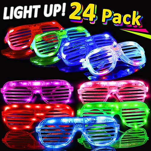 (Randosk 24 Pack LED Glasses Glow in The Dark Party Favors Supplies for Kids Light Up Toy Bulk with Flash Light 3 Replaceable Battery for Father's Day Birthday Holiday Outdoor Party)