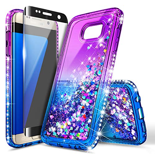 Galaxy S6 Edge Case with Screen Protector (Full Coverage 3D PET) for Girls Women Kids, NageBee Glitter Liquid Bling Floating Waterfall Sparkle Diamond Cute Case for Samsung Galaxy S6 Edge -Purple/Blue