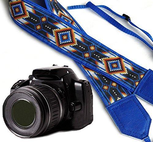 IntePro Bright TribalカメラストラップInspired by Native American。ブルーSouthwestern EthnicカメラストラップDSLR / SLRカメラストラップ。耐久性、ライト重量とWellパッド入りカメラstrap.コード00055 B01J5NBFE2
