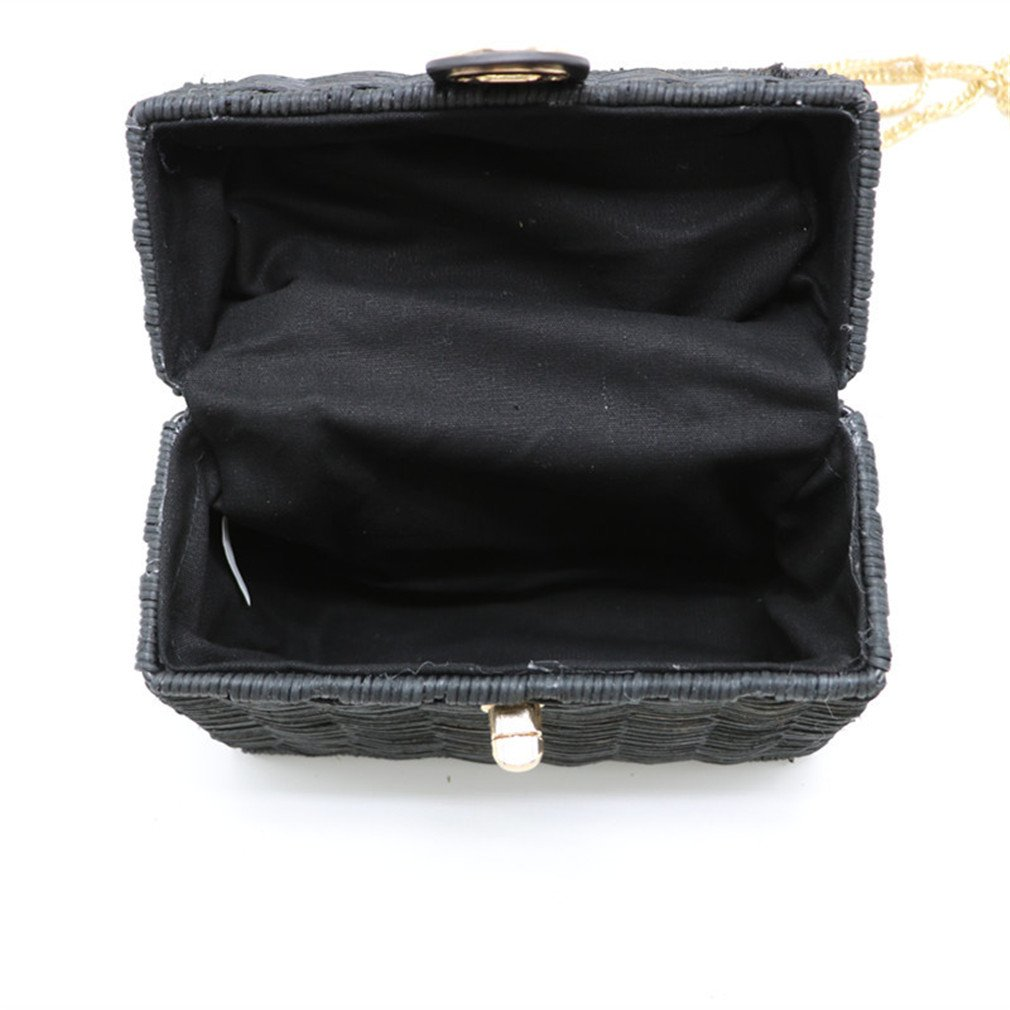 49c71914e6 Amazon.com  WIEJDHJ Women Handmade Flap Beach Shoulder Bag Bali Black Straw  Bags Summer Woven Rattan Handbags Women Messenger Bag Black Mini-Max ...