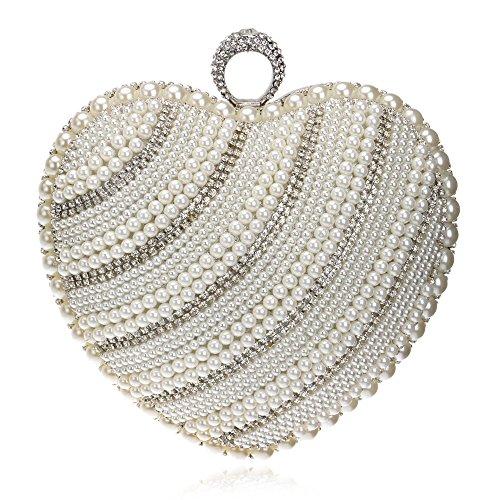 Sac Coeur Prom Pour Sac Mariage À Main En À Femmes Soirée Party Glitter Perle Dames Main De Bandoulière Sac Clubs Diamante à Silver Pochette Nuptiale Cadeau De Forme 6Z1fgW1U