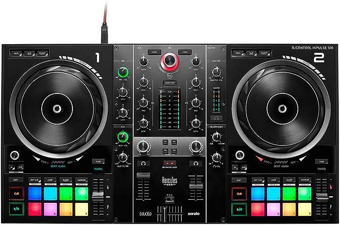 Hercules DJControl Inpulse 500: Controladora de DJ USB de 2 Decks para Serato DJ Lite y DJUCED (incluidos), Interfaz de Audio Integrado, 16 Pads RGB ...