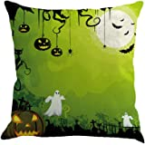 Cuscino di Halloween, Longra Cuscino cuscino cuscino in lino con stampa del castello di zucca
