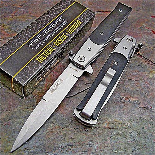 TAC Force Black Wood Tactical Pocket Knife NEW (Best Italian Stiletto Switchblade)